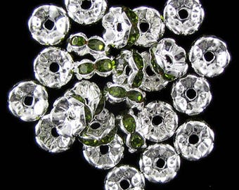 25 8mm silver plated rhinestone rondelle beads olivine findings 16821