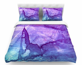 Blue bedding, Blue duvet, Blue and purple duvets, Purple duvets, Bedroom decor, Blue duvet cover, Blue and purple comforter, Interior design