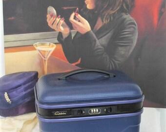 Vintage Navy Vanity Case/Constellation Train Case/1990's Hard Shell Vanity Luggage (Ref1975C)