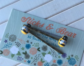 Bee hair slides, bumble bee hair clips on antique bronze look slides, wooden bee hair accessories, beetle hair barrettes, yellow