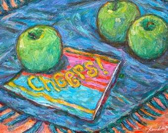 CHEERS Art 12x9 Impressionist Still Life Oil Painting by Award Winning Artist Kendall F. Kessler