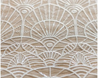 Soft geometric sequin lace, wedding lace fabric, bridal lace, Sequin Lace fabric, Flower lace fabric, wedding dress lace - (L17-048)