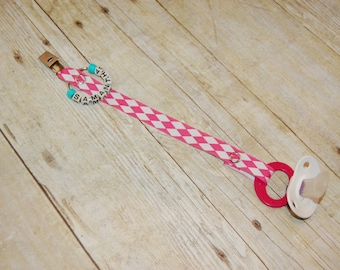 Pacifier Clip, Pink & White Diamond, Personalization Available, Ready to Ship, Free USA Shipping