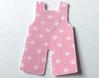 12 Baby pink stickers, Adhesive fabric overalls with stars, handmade washi tape