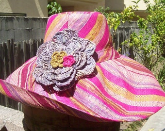 Candy Stripe Wide Brimmed Sun Hat