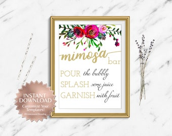 Mimosa Bar Sign|Mimosa Bar Sign Printable|Floral Mimosa Bar Sing|Floral Bridal Shower|Bridal Shower Printable|Instant Download|Template|Gold