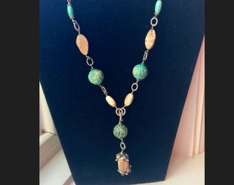 Sterling Silver, Carved Turquoise, and Wood Necklace