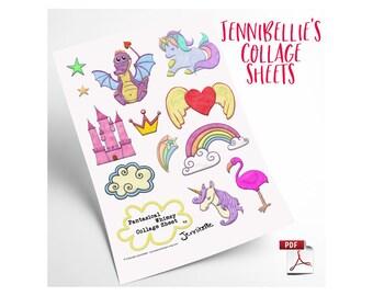 Fantasical Whimsy Digital Collage Sheet by Jennibellie