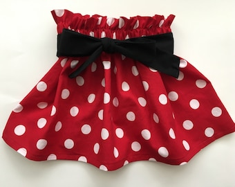 Red & White Polka Dot Skirt Minnie Mouse Birthday Party Skirt Summer Skirt Newborn / Baby / Infant / Toddler