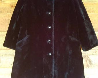 Vintage Faux Fur Black Long Warm Womens Winter Coat