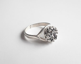 SALE - Faux Druzy Adjustable Ring in Silver