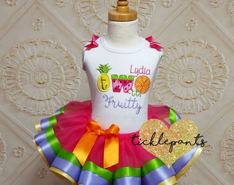 Two-tti Fruity Birthday tutu outfit - 2nd birthday - Hot pink purple green orange - Includes top and ruffled tutu - Can be customized