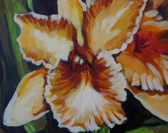 An original painting of an exotic yellow orchid