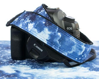 dSLR Camera Strap, Heavenly Stars, Blue, SLR, Pocket, Galaxy, Canon strap, Nikon strap, Neck strap,  305