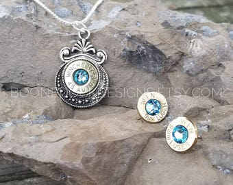 Bullet Jewelry Set - Aquamarine Jewelry - Bullet Necklace - Bullet Earrings - Country Girl Jewelry - Bullet Casing Jewelry - Girl Hunter