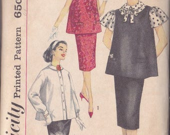 Vintage 1950s Mother 2 Be Fashion Maternity Pattern ~ Simplicity 3276 Size 12 ~ Blouse ~ Top ~ Skirt Simple to Make Wardrobe Cut Complete