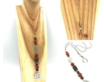 Tiger's eye - Agate - Crystal long necklace
