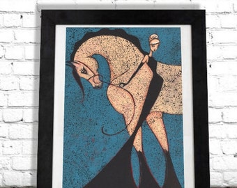 Horse Art Print, Equestrian Gift, Elegant Woman, Fixer Upper Style Decor, Colorful Wall Art, Modern Entryway Fashion Illustration, Shano