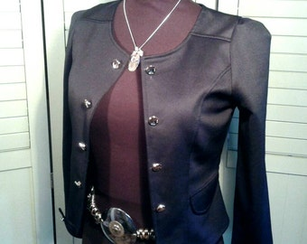 Military Look Cropped Jacket Open Front Fitted Double Breasted Silver Buttons Peplum Back Bow Lightweight Black Women's Size Small Medium
