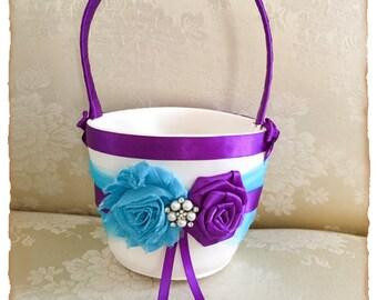 Flower Girl Basket and Wedding Ring bearer Pillow, Turquoise and Purple Flower Girl Basket, Ring Pillow, Turquoise and Purple Wedding