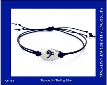 Bass Clef Bracelet, Sterling Silver and Cotton Bracelet, Bass Player Gift, Bass Guitar, Double Bass, F Clef Jewelry, Trombonist, Tubist