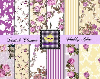 Digital Paper, Scrapbook Paper, Digital Shabby Paper, Vintage Scrapbook Purple Digital Paper, Shabby Rose Paper. No. P.81.DA