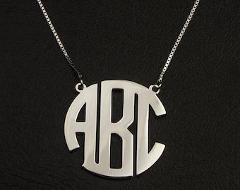Circle Monogram Necklace, Initial Circle Monogram Necklace, Personalized Initial necklace, Circle Initial Necklace, Sterling Silver Initial