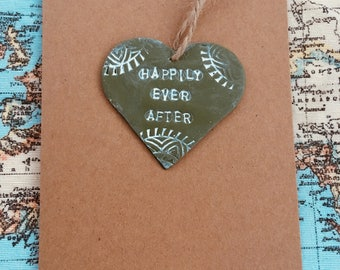 Wedding 'happily ever after' keepsake clay card