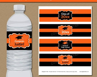 Graduation Party Decorations 2018, EDITABLE Graduation Water Bottle Labels, Printable Graduation 2018 Orange and Black Labels  G1