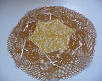 """""""Rabbits"""" crochet doily handmade cotton caramel and yellow."""