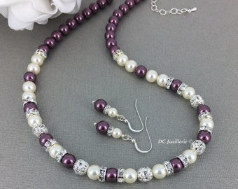 Burgundy Necklace Pearl Jewelry Swarovski Necklace Pearl Necklace Bridesmaid Gift Swarovski Jewelry Maid of Honor Gift