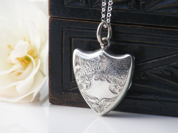 Antique Locket | 1902 Edwardian Shield Locket | Sterling Silver Locket | Silver Shield | English Hallmarks - 22 Inch Sterling Silver Chain