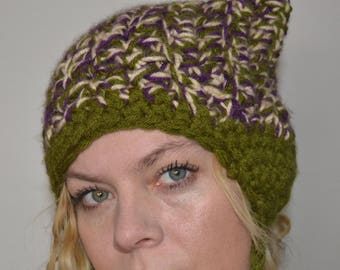 Crochet Hat - Cat Hat in Olive Green, Purple, and Cream with Braids and Ears - Perfect for skiing and snowboarding