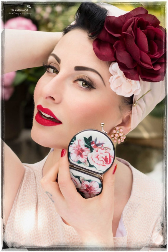 Retro mirror, Honeybird, birthday gift, gifts for her, gifts for mom, Woody Ellen compact, Valentine, christmas gift ideas, Pinup fashion
