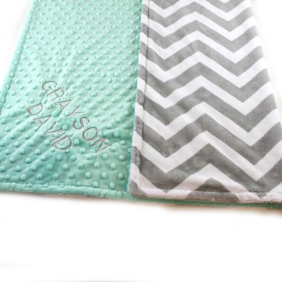 Chevron Baby Blanket Girl, Mint Gray Minky Personalized Baby Blanket, Name Baby Blanket, Receiving Blanket, Baby Girl, Baby shower gift