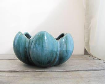 1970s Lotus pot, Blue mountain pottery succulent planter, BMP green blue drip glaze vase dish