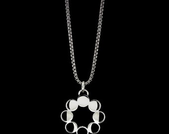 Moon Phase Necklace Sterling Silver Moons Astrology