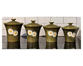 Vintage Daisy & Green Basket-Weave Motif Ceramic Kitchen Canisters (Set of 4)