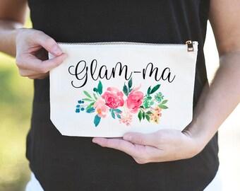 Glam-ma, Glam-ma Gift, Gift for Glam-ma, Glamma, Glamma Gift, Gift for Glamma, Glamma Makeup Bag, Glamma Cosmetic Bag, Glam-ma Makeup Bag