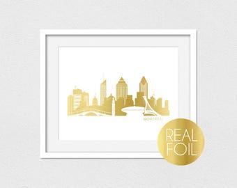 Montreal Skyline Foil Print // Gold Foil // Rose Gold Foil // Silver Foil // Montreal Skyline // Skyline Foil Print // Gold Foil Art
