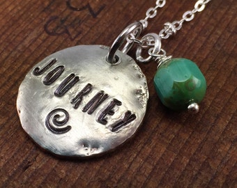Journey Silver Stamped Penny Charm Necklaces, Inspiring Jewelry, Inspirational Necklace, Hand Stamped Necklace, Kyleemae Designs Original