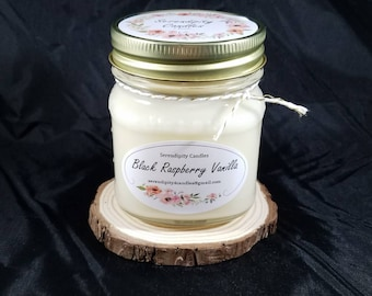 Black Raspberry Vanilla Serendipity Candles Hand Poured 8 oz. Soy Candle