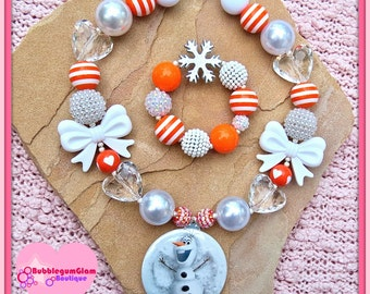 Frozen Necklace, Olaf Necklace, Olaf Pendant, Mirror Pendant, Snowman, Olaf Snow Man, Snowman Necklace, Chunky Girls Necklace