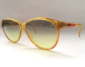 80s Vintage German Viennaline Yellow Orange Cateye Ladies Sunglasses