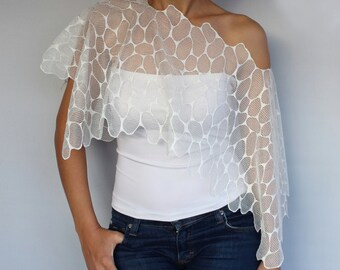 Ivory Lace Off Shoulder Bridal Shrug, Bolero Capelet.  Handmade