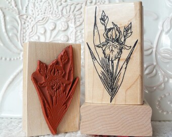 Iris Flower rubber stamp from oldislandstamps