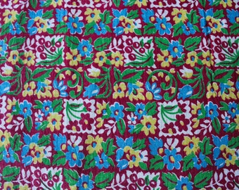 30s Feedsack Fabric Scrap - 29 x 23 Inches - Red Cherry Print Grain Sack Cotton - Cherries & Flowers Red Blue Green Novelty Print - 47562