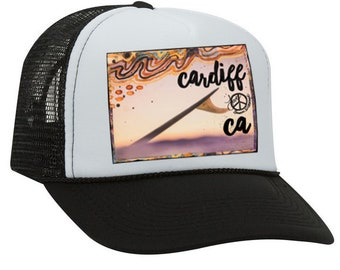 Trucker Hats, CARDIFF WAVELENGTH CA, limited ed. with custom made Pin Back button, One Size Fits All, foam trucker hat, Beach, Surf, Waves