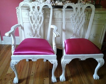 Shabby chic Chippendale chair with fushia pink  fabric