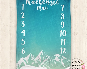 Baby Milestone Blanket - Mountain Watercolor Monthly Milestone Blanket - Super-Soft Minky Baby Blanket - Receiving Shower Baby Gift
